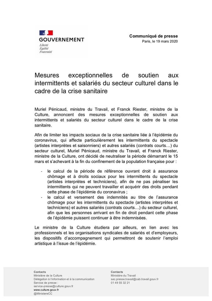 Coronavirus - Communiqué du Ministère de la Culture pour les intermittents du spectacle -